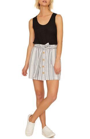 SANCTUARY Sagebrush Paperbag Blue Ivory Stripe Mini Skirt S NEW WITH TAGS