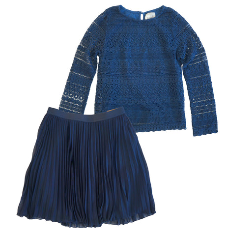 PEEK Lace Top and HOLLISTER Blue Pleated Skirt Girls 10