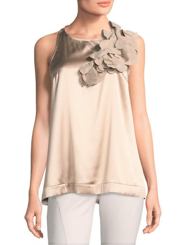 BRUNELLO CUCINELLI Detachable Flower Applique Bone Stretch Silk Tank Top M $1995