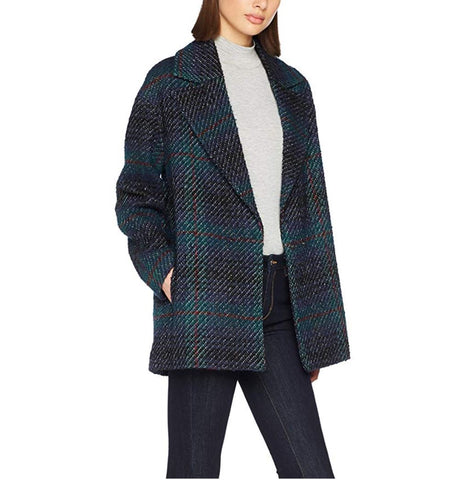 SISLEY Blue Green Plaid Check Print Tweed Jacket Coat 40 US 8