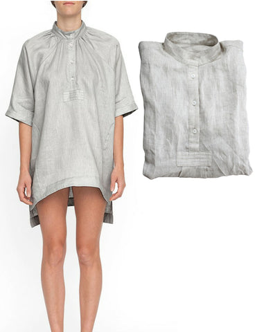THE SLEEP SHIRT Oversized Gray Linen Night Shirt OS