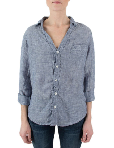 CP SHADES Blue Linen Sloane Button Down Shirt Long Sleeve Blouse M