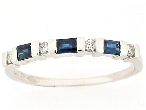 14K WHITE GOLD Diamond and Sapphire Band Size 7