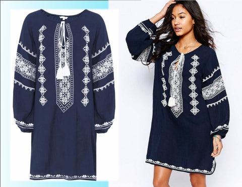 STAR MELA Myra Embroidered Cotton Tunic Dress, Medium