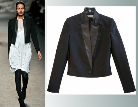 STELLA MCCARTNEY Cropped Satin Lapel Tuxedo Jacket, IT 38 / US 4