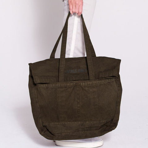 SUNDRY Military Green Canvas Locals Only Foldover Tote Bag NEW WITH TAGS