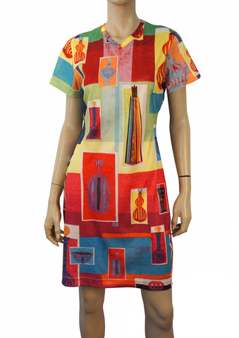 TODD OLDHAM TIMES SEVEN Vintage 90s Multicolor Cubist Bottle Print T-Shirt Dress L NEW