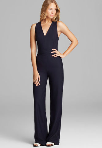 TORY BURCH Trinity Navy Blue Stretch Wool Sleeveless Jumpsuit 2