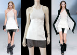 RICK OWENS White Ivory Cotton Silk Fluoro Mini Skirt 42 US 4 6