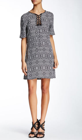 TWELFTH STREET CYNTHIA VINCENT Lace Up Printed Crepe Mini Dress S