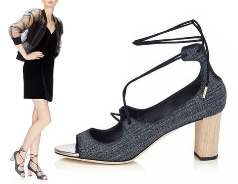 JIMMY CHOO 36.5 Vernie Denim Blue Leather Wood Heel Sandals 6