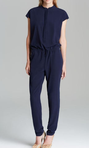 VINCE Navy Blue Stretch Front Zip Pants Jumpsuit Sz 2