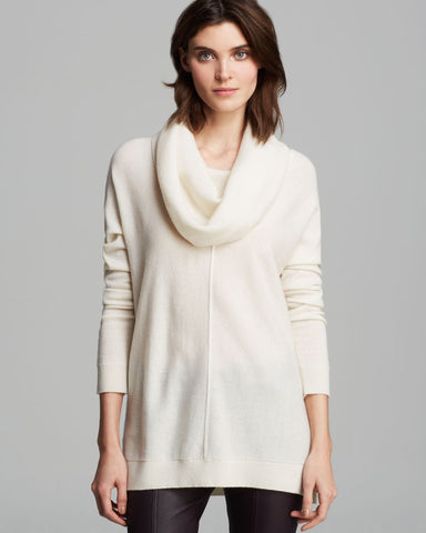 VINCE Ivory Wool Cashmere Cowl Neck Tunic Sweater L