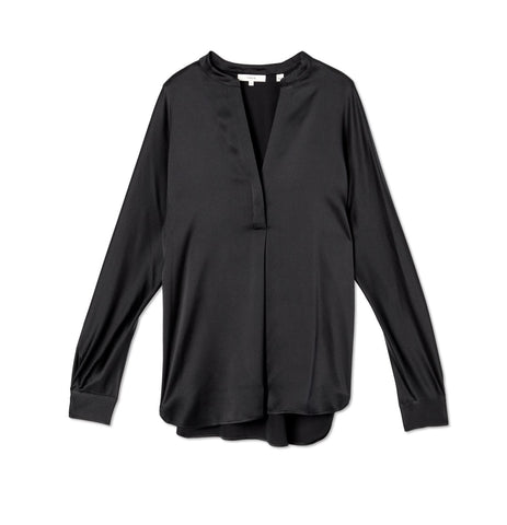 VINCE Black Silk Slim Fit Band Collar Blouse