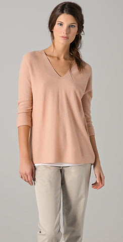 VINCE Long SLeeve Peach Bisque Double V-Neck Cashmere Sweater S