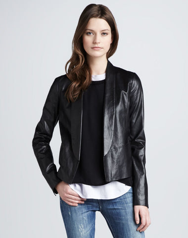VINCE Black Leather Cropped Shawl Collar Open Front Jacket 6 BRAND NEW