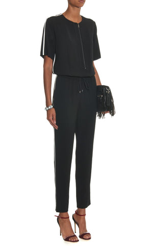 VINCE Contrast Trim Short Sleeve Black Crepe Jumpsuit 0 BRAND NEW