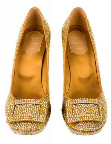 ROGER VIVIER 38.5 Limelight Yellow Gold Satin Crystal Platform Pumps 8 NIB