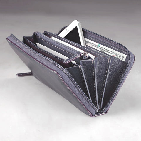 LEVENGER Purple Mist Leather Accordian Zip Wallet NEW