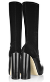 ALEXANDER WANG 37 Boots Hannah Black Leather Velvet Sock Boots 6.5 NEW IN BOX