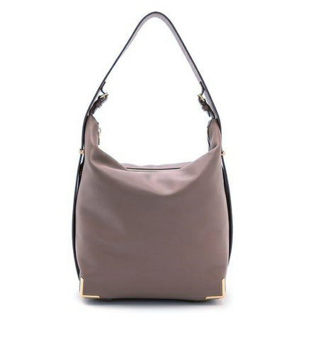 ALEXANDER WANG Latte Brown Leather Prisma Skeletal Gold Trim Hobo Shoulder Bag