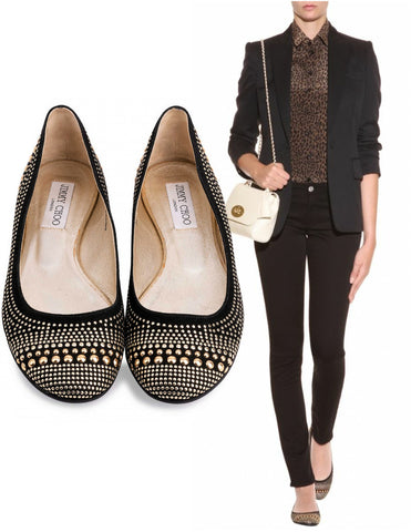 JIMMY CHOO 37 Welda Black Suede Studded Ballet Flats 6.5 BRAND NEW