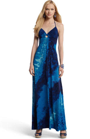 WHITE HOUSE BLACK MARKET Blue Tie-Dye Maxi Halter Dress S