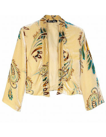 KATE by NICOLE RICHIE Jade Butter Yellow Velvet Burnout Kimono Jacket S BRAND NE