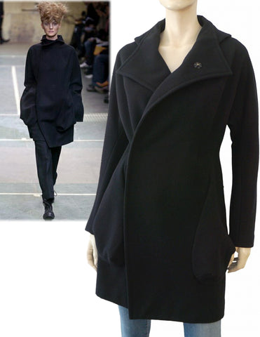 YOHJI YAMAMOTO Double Breasted Black Wool Coat Jacket Japan 1 US S