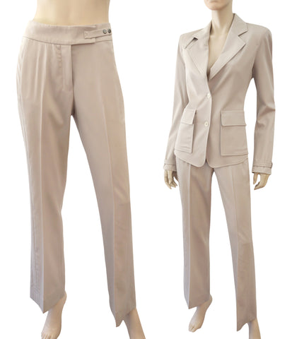 YVES SAINT LAURENT Wide-Leg Stretch Wool Pants, FR 38 / US 6