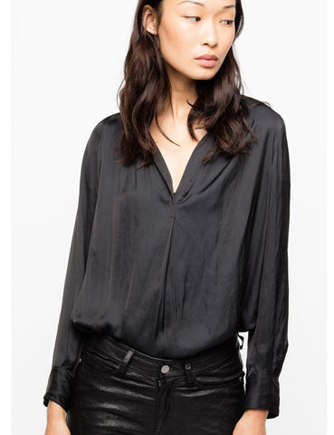 ZADIG & VOLTAIRE Tink Black Satin Long Sleeve Blouse Tunic Top M NEW