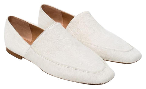 ZARA TRAFALUC 39 White Calf Hair Leather Loafers Flats 8 NEW WITH TAGS