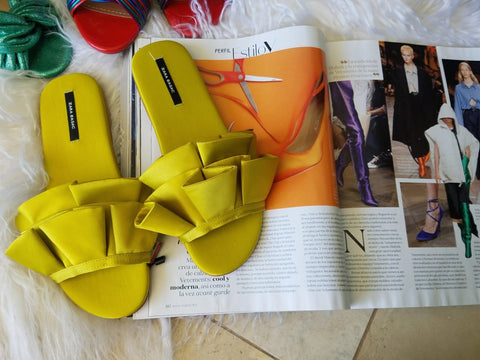 ZARA 40 Frilled Satin Slides Neon Green Sateen 9.5 NEW WITH TAGS