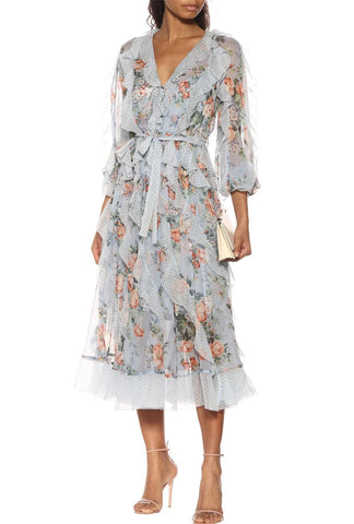 ZIMMERMANN Bowie Waterfall Floral Silk Chiffon Midi Dress 2 NEW WITH TAGS