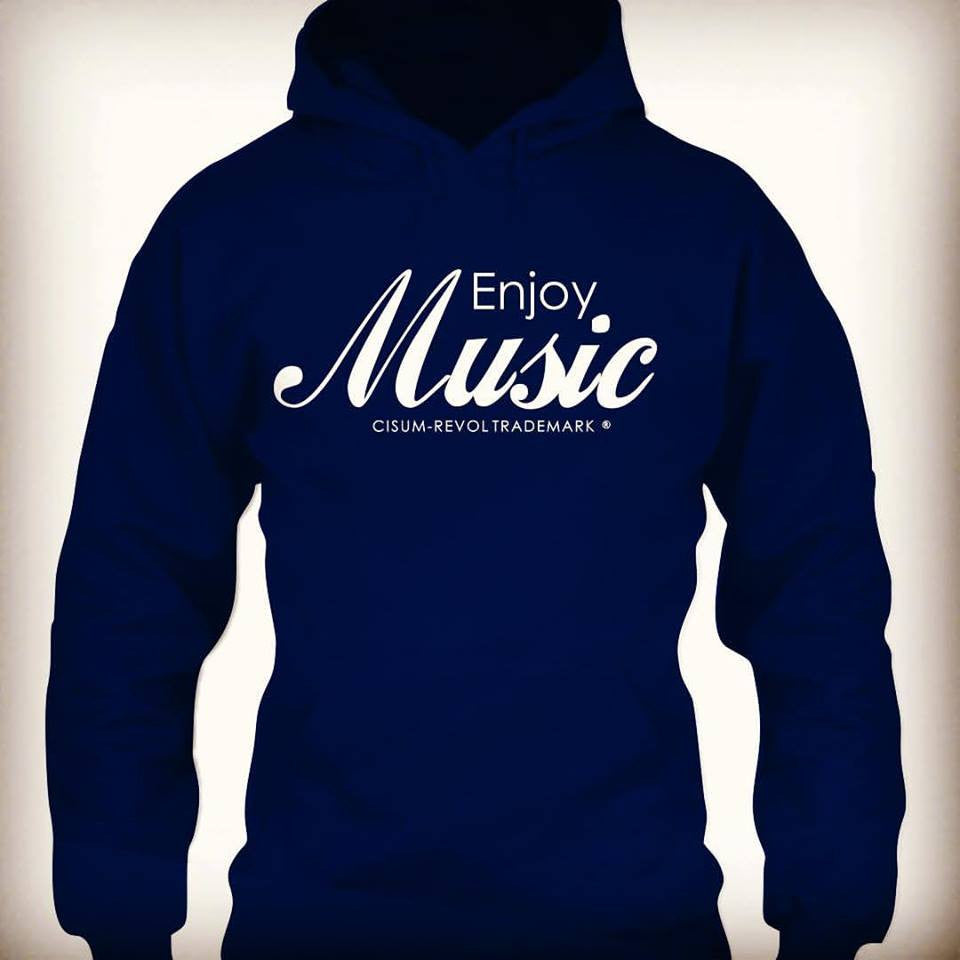 Enjoy Music Navy Hoodie with White Print