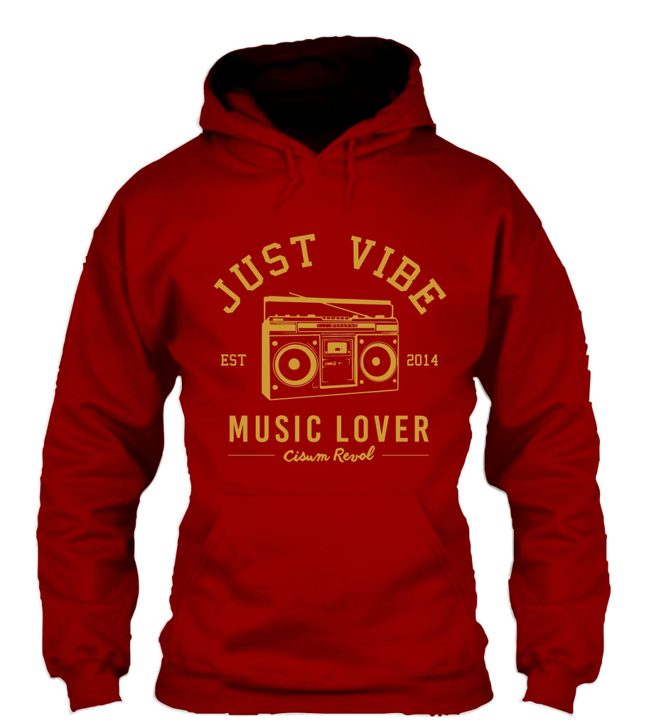 Just Vibe Maroon Hoodie with Gold Print