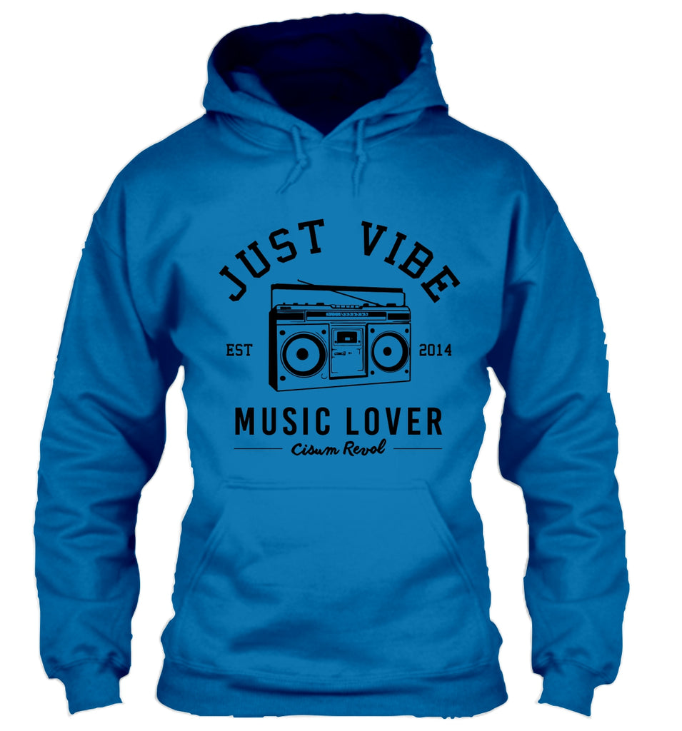 Just Vibe Sapphire Hoodie with Black Print