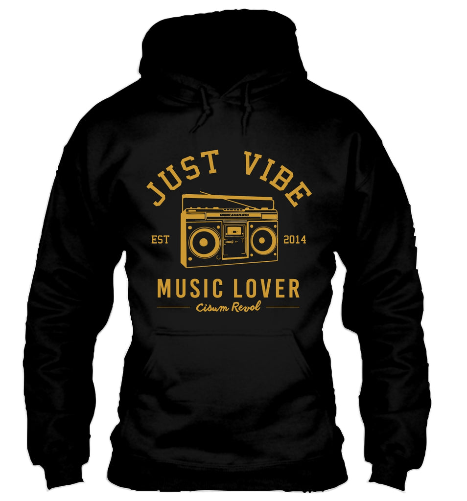 Just Vibe Black Hoodie with Gold Print