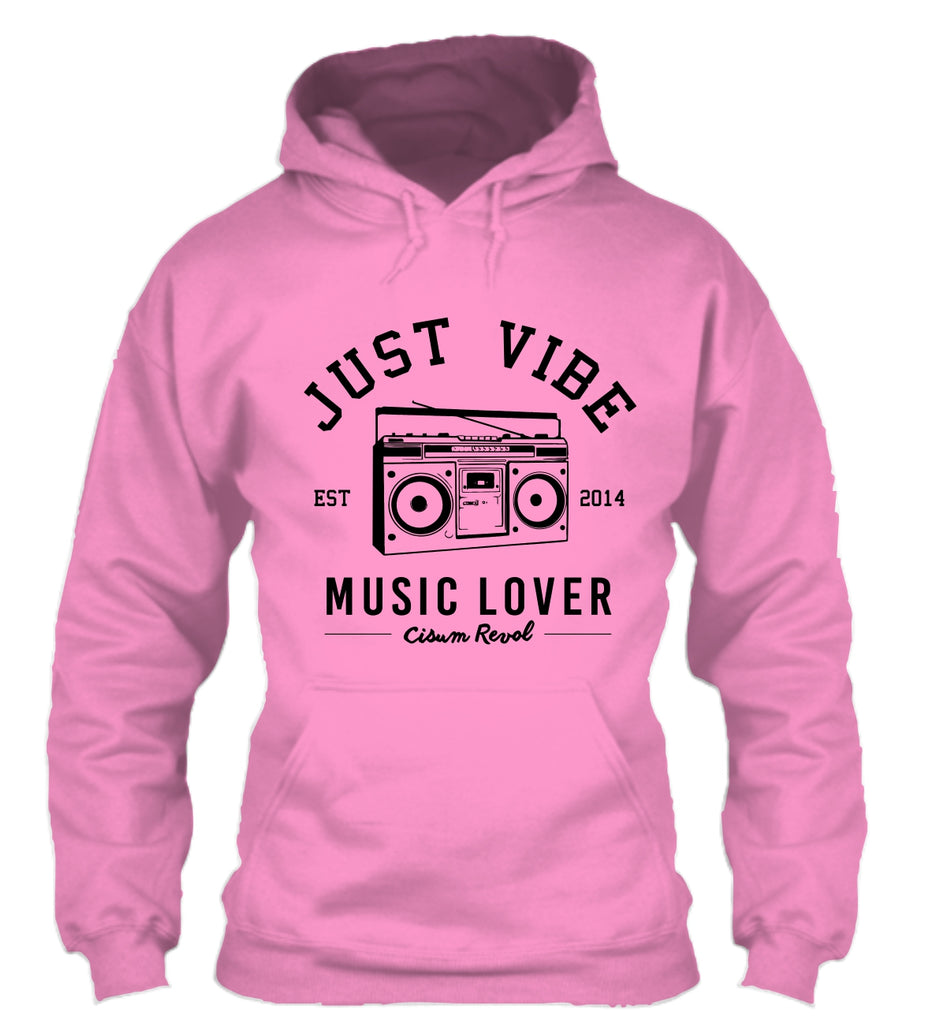 Just Vibe Pink Hoodie with Black Print
