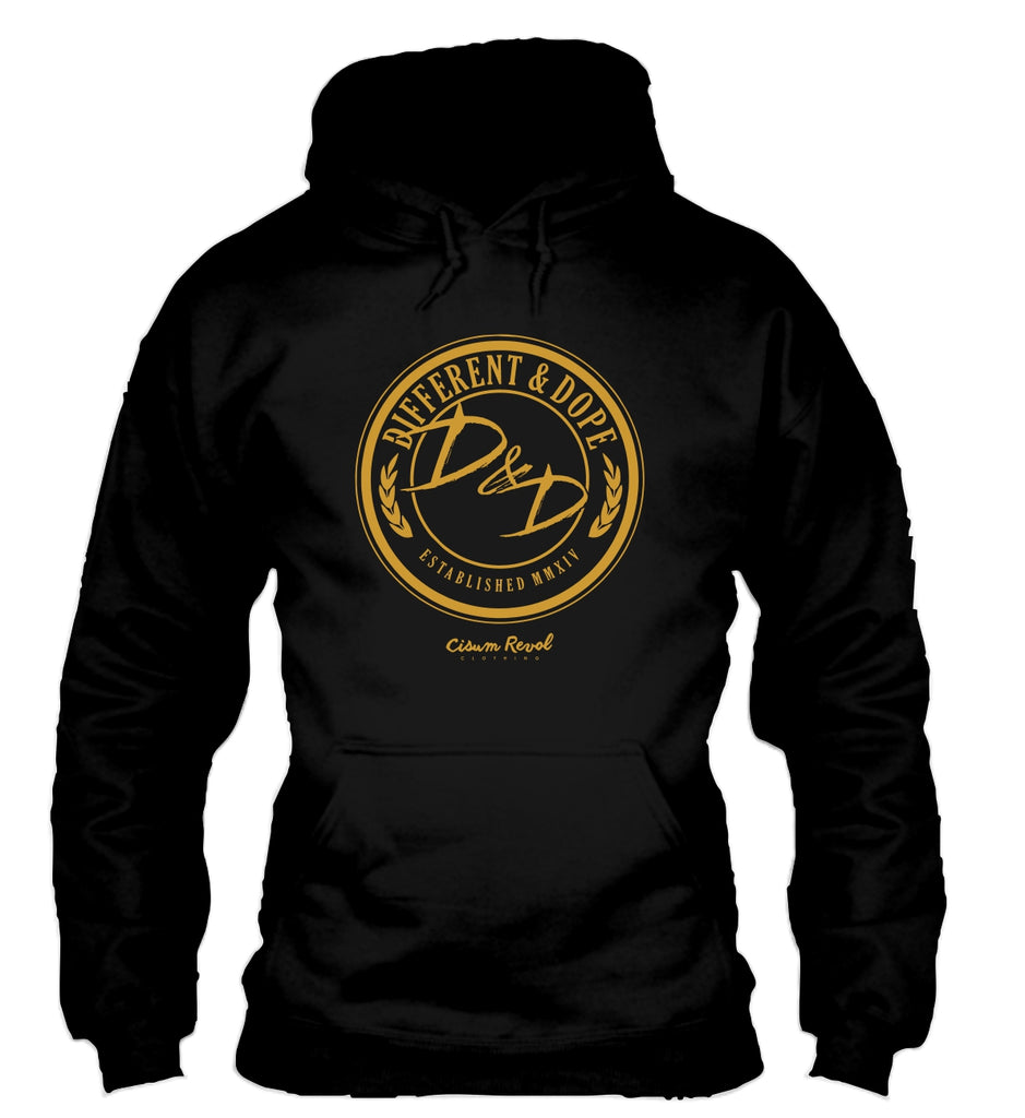 Different & Dope (D&D) Black Hoodie with Gold Print