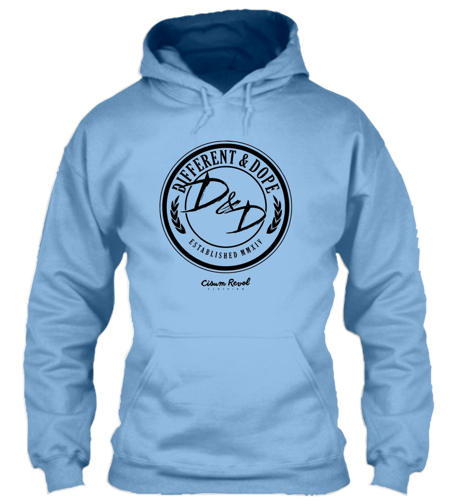 Different & Dope (D&D) Carolina Blue Hoodie with White Print