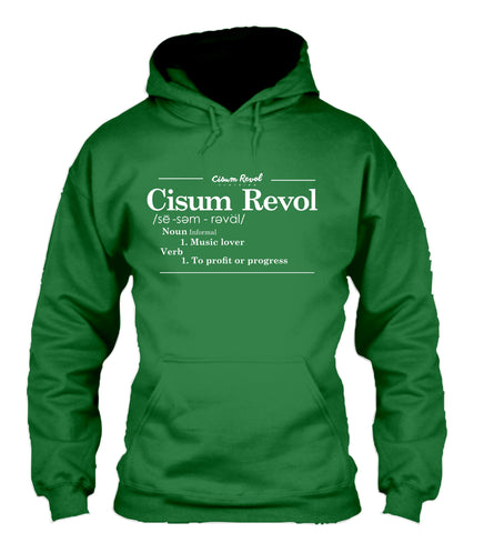 """DEFINITION"" Irish Green Hoodie with White Print"