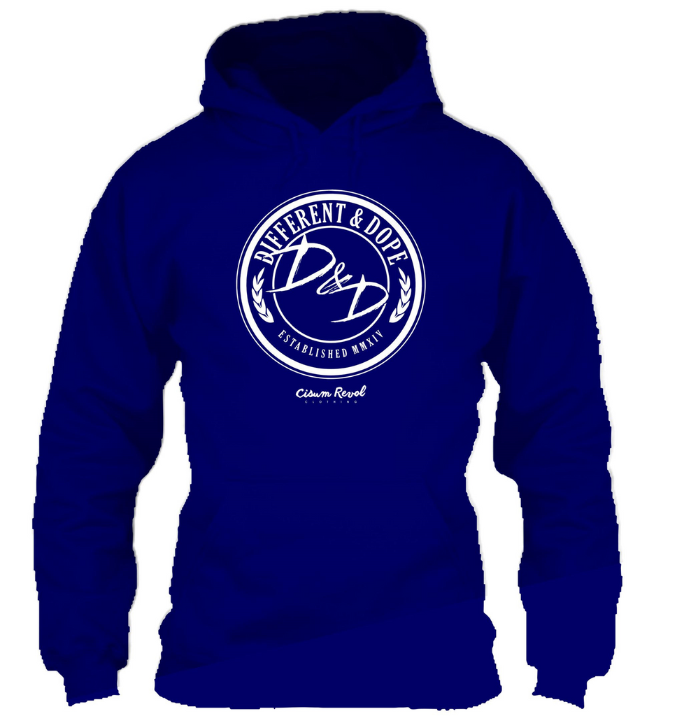 Different & Dope (D&D) Blue Hoodie with White Print