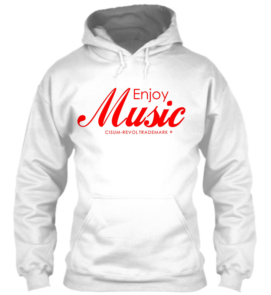 Enjoy Music White Hoodie with Red Print
