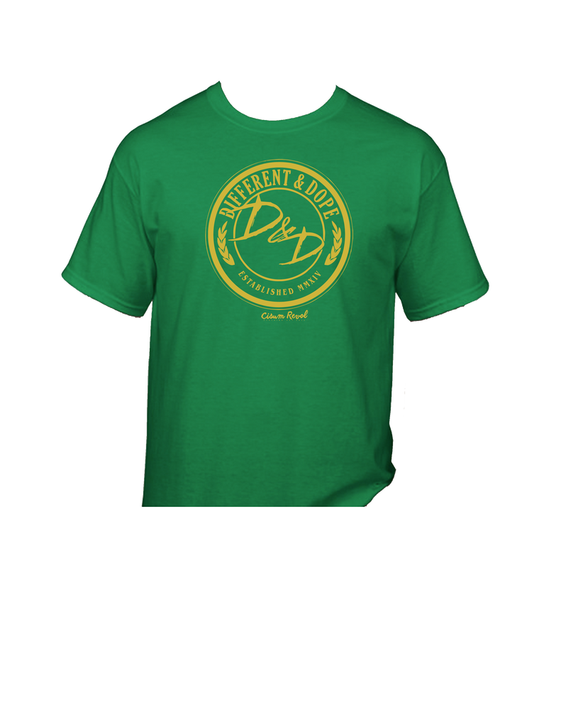 Different & Dope (D&D) Irish Green Tee with Gold Print