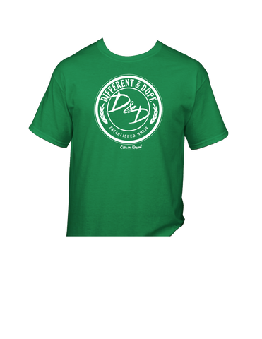 Different & Dope (D&D) Irish Green Tee with White Print