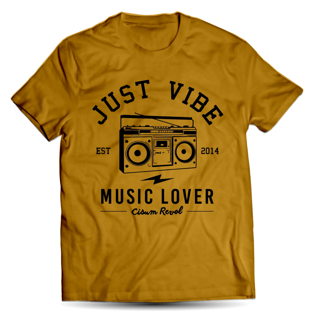 Just Vibe Gold Tee With Black Print