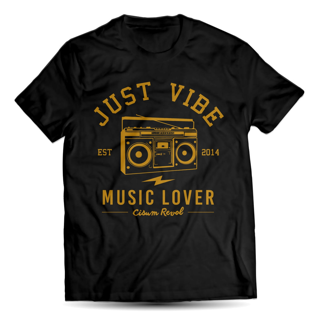 Just Vibe Black Tee With Gold Print