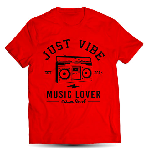 Just Vibe Red Tee With Black Print