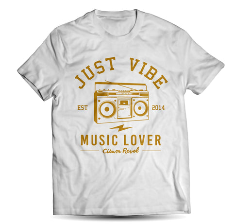 Just Vibe White Tee With Gold Print